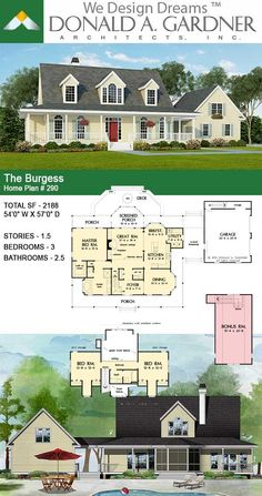 A two-story great room and two-story foyer, both with dormer windows, welcome natural light into this graceful country classic with wrap-around porch. The Burgess House Plan New House Plans, Dream House Plans, House Floor Plans, Dream Houses, Two Story Foyer, Warm Home Decor, Dormer Windows, Dome House, Country Style House Plans
