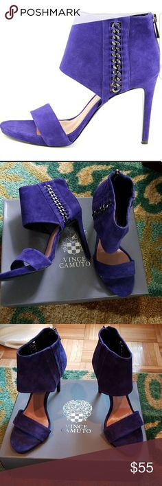 "NIB Vince Camuto Freya heels Sexy heels in a purple/blue color called outer space. Brand new in box! Suede upper, open toe with cool metallic detail at ankle. 4"" heel. Size 8 Vince Camuto Shoes"