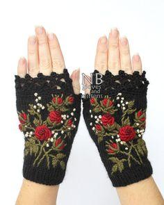 De punto guantes sin dedos, rosas, ropa y accesorios, guantes y mitones, Ideas para regalos, para ella,