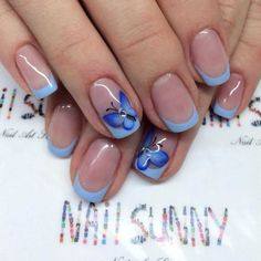 Blue French nail design with butterflies :: one1lady.com :: #nail #nails #nailart #manicure