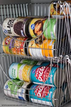 Cans in Stacking Baskets