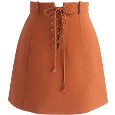Chicwish Lace-up Era Bud Skirt in Orange ($42) ❤ liked on Polyvore featuring skirts, mini skirts, orange, short brown skirt, orange skirt, chicwish skirt, slip skirt and short skirts