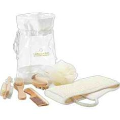 Six piece #spa set includes a round wooden massager, wood-handled pumice stone and nail brush, wood-handled bath brush, wooden comb, sisal buff belt and a mesh scrubber all in a transparent drawstring pouch. Price: Upgrade your business by clicking the picture and placing your order now. Price: $8.95