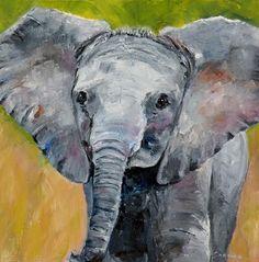 "ART FOR LIFE: ""Baby Elephant"" original oil elephant portrait © Saundra Lane Galloway"