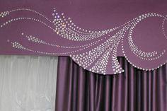 Custom cornice with bling. Home Curtains, Curtains With Blinds, Valance Curtains, Curtains Living, Valances, Window Coverings, Window Treatments, Window Pelmets, Curtain Box