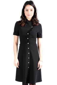 Shoptiques — Structured Black Button Down Dress