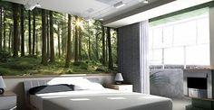 Digital Wallpaper Bedroom Interior by Stemik Living Bedroom with garden theme bedroom design furniture