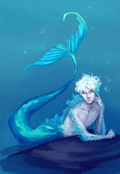 A commission of Siren Killua I made, commissioned by for ! Mermaid Artwork, Mermaid Drawings, Mermaid Paintings, Fantasy Mermaids, Mermaids And Mermen, Real Mermaids, Fantasy Kunst, Fantasy Art, Anime Merman