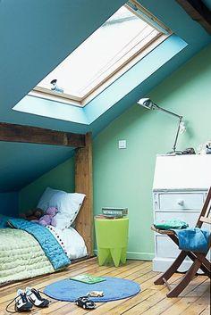 la chambre denfant voit la vie en bleu et vert couleur de peinture - Chambre Bleu Vert