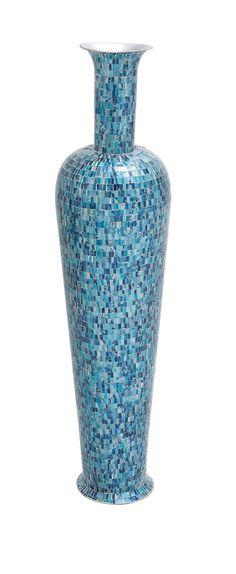 49 Tall Blue Metal Mosaic Standing Floor Vase Modern Contemporary Decor