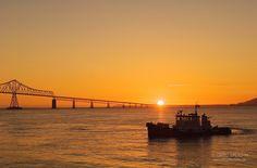 "Astoria Bridge sunset | Pilot Boat ""Arrow 2"" and the Astoria-Megler Bridge, connecting Oregon ..."
