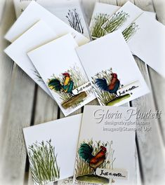 Hand Made Greeting Cards, Making Greeting Cards, Card Making Inspiration, Making Ideas, Rooster Images, Home To Roost, Chickens And Roosters, Stamping Up Cards, Coq
