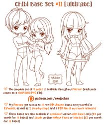 Chibi Pose Reference (Ultimate Chibi Base Set by Nukababe on DeviantArt Chibi, Cartoon Drawings, Sketches, Character Design, Drawing Tutorial, Poses, Drawing Base, Chibi Hair, Pose Reference
