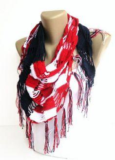 American flag scarf w/ crochet work & fringe, scarf. Picsity.com