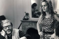 "Maurice Pialat and Sandrine Bonnaire on the set of ""A nos amours"""
