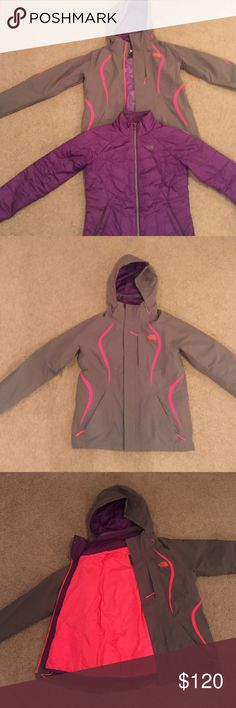 The North Face Kira 3-in-1 Jacket Breathable, waterproof jacket - great for snow sports and cold days! Worn one season and in very good condition. A couple of stains (hood and by TNF logo - shown in 4th pic) and a couple of tiny holes from campfire sparks (very hard to see). Inner purple jacket zips into outer grey/electric salmon shell. Tons of zippered pockets and one inner pocket on shell. Two zippered pockets on inner jacket. Has snow skirt. Size medium. The North Face Jackets & Coats