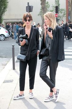 Playing twins in black, Chanel, and plaid sneakers