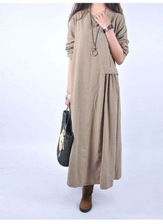 Custom made Women casual loose linen maxi dress - moda Hijab Fashion, Boho Fashion, Fashion Dresses, Womens Fashion, Fashion Design, Warm Dresses, Linen Dresses, Casual Dresses, Mode Boho