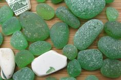 Genuine Surf Tumbled Green Sea Glass and Pottery by nsseaglass