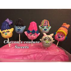 12 trolls inspired cake pops by Chevonscouturesweets on Etsy