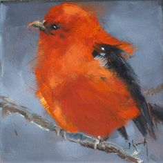 Scarlet Tanager print by Jacklynkovach on Etsy