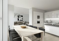 Dining Room:Open Concept Kitchen Dining Living Room Space Area Grey Floor White…
