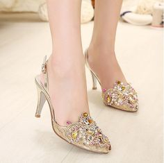 f4e9ff5a9f43 Rhinestone Buckle Woman High Stiletto Heel Pumps Platform Gorgeous Ladies  Shoes  65  womenshoes  shoes