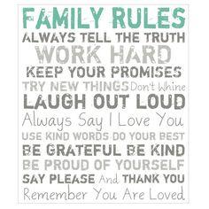 FamilyRulesWallArtIinGreen