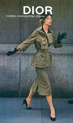 1957 Jean Patchett in brown striped worsted jersey suit by Christian Dior