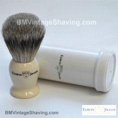 Edwin Jagger Faux Ivory Travel Shaving Brush Super Badger!  #ShavingRazorsandBrushesCases Shaving Razor, Shaving Brush, Edwin Jagger, Badger, Ivory, Travel, Beauty, Viajes, Destinations