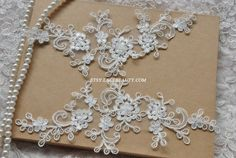 Alencon Lace Appliques Ivory Floral Embroidered by Lacebeauty, $5.99