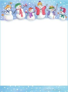 Snowmen on stationery Christmas Border, Christmas Frames, Christmas Paper, Christmas And New Year, Christmas Cards, Borders For Paper, Borders And Frames, Free Printable Stationery, Christmas Stationery