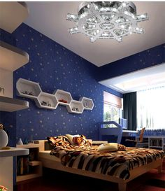 Children Bedroom Cozy Modern LED Large crystal Ceiling Lights k9 Crystal Lustre AC110-260V Diameter 400mm* height 150mm