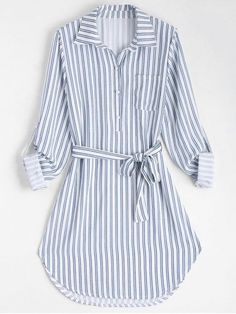 Stripe Fall and Spring Yes Striped Long Shirt Knee-Length Straight Causal and Going Casual Belted Striped Long Sleeve Shirt Dress Striped Long Sleeve Shirt, Long Sleeve Shirt Dress, Long Sleeve Shirts, Dress Long, Girls Fashion Clothes, Fashion Dresses, Clothes For Women, Cute Casual Dresses, Stylish Dresses