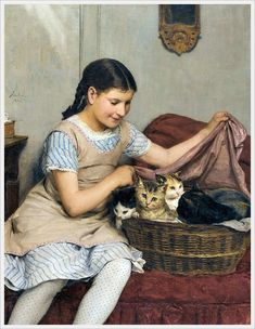 """""""Girl with kittens"""" (1885), by Swiss artist - Albert Anker (1831-1910), Medium unknown, Dimensions unknown, Location unknown."""
