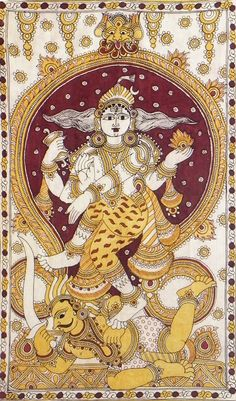 Nataraja (Kalamkari Paintings on Cotton - Unframed))