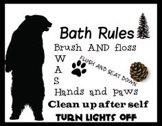 Bath Cabin Rules ) Rustic Primitive Sign plaque Country Bear pinecone Theme #Handmade #Sign