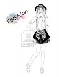 Jong mooi meisje, mode, illustratie. Vector illustratie. Achtergrond met tiener vrouw in modieuze kleding. Stockfoto - 10772550
