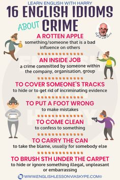16 Idioms and Expressions about Crime • Learn English with Harry 👴 English Idioms, English Phrases, Learn English Words, English Lessons, French Lessons, Spanish Lessons, English Grammar, Learning English For Kids, English Language Learning