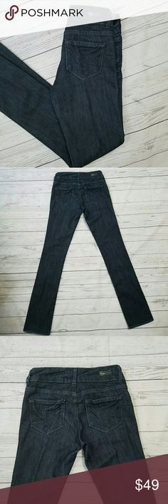 Paige Hidden Hills Jeans 25x33 Dark wash straight leg jeans, in nearly new condition. No signs of wear that I can find. Factory whiskering in the front. Double button closure, zip fly, 5 pocket denim. 60% cotton, 40% polyester. 33 inch inseam. 14 inches across the top of the waist with an 8 inch rise. Paige Jeans Jeans Straight Leg