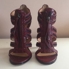 Worn ONCE : LAMB strap zipper Heels Wore these once, beautiful rich burgundy staph zipper heel. Perfect for every night out, jeans and a tee or with your favorite dress. L.A.M.B. Shoes Heels