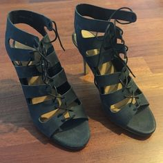 Black lace-up heels from Madewell Black leather lace-up heels from Madewell. Worn once, like new!! Leather upper and leather footbed lining. Madewell Shoes Sandals