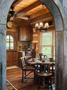 Log home with barn wood and Western decor