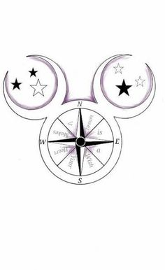 """Walt Disney Mickey Mouse Compass Tattoo dusted in purple. """"A dream is a wish your heart makes"""" quote from Cinderella. Moon and Star Ears. Disney Tattoo designed by Autumn Hilpipre 2014 Wolf Tattoos, Finger Tattoos, Leg Tattoos, Body Art Tattoos, Sleeve Tattoos, Print Tattoos, Tatoos, Mickey Tattoo, Mickey Mouse Tattoos"""