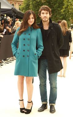 Julia Restoin Roitfeld in Burberry Prorsum and Robert Konjic at the Burberry Prorsum Front Row #lfw