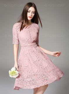Dresses - $97.03 - Lace Solid Half Sleeve Knee-Length Vintage Dresses (1955098822)