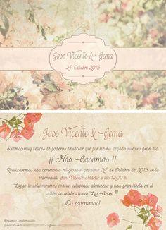 Invitación #vintage #boungavilla