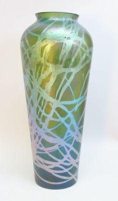 """Huge Antique 14.5"""" Kralik Iridescent Art Glass Vase  c. 1905   eBay"""