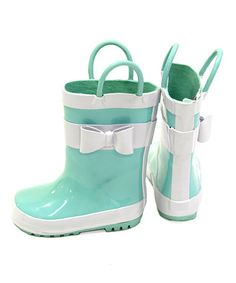 Look what I found on #zulily! Teal Bow Rain Boot - Girls #zulilyfinds