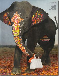 painted elephant part of an hermes campaign
